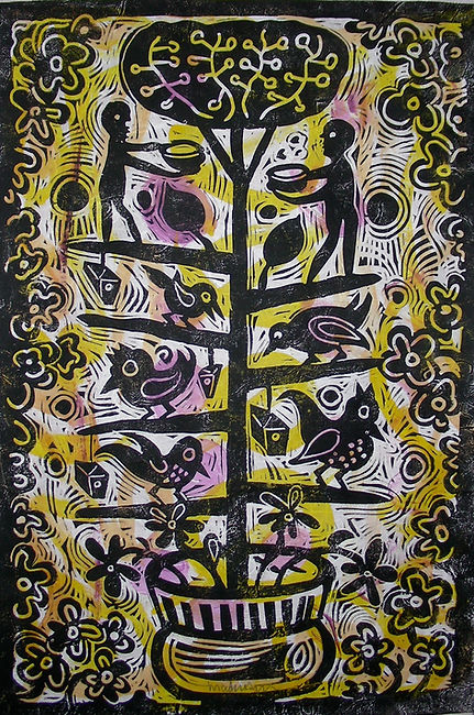 Purple Yellow Tree of Life by Gert Mathiesen