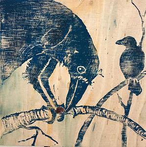 #14: Two_Ravens, a linoleum cut by Bärbel Thiel