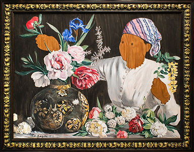Bazille's Muse with Peonies by Lynette Charters