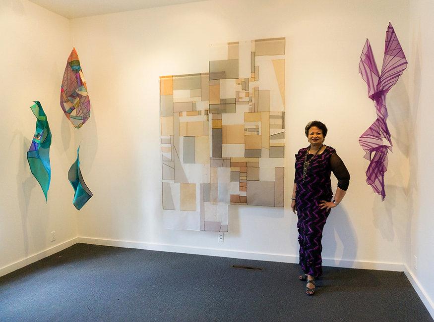 Leonie Castelino Artist Photo at Hammond Museum and Japanese Stroll Garden Exhibition