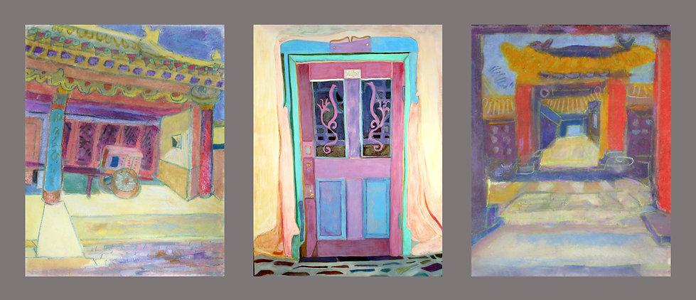 Wagon / Door at Number 25 / Three Red Columns, three paintings by Ellen Pliskin