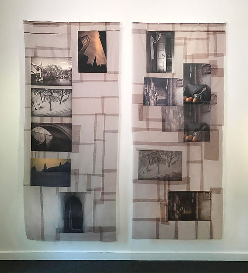 #7 The Empty City & Caged Bird, Digital Images on Kimono Silk by Leonie Castelino & Dustan Osborn