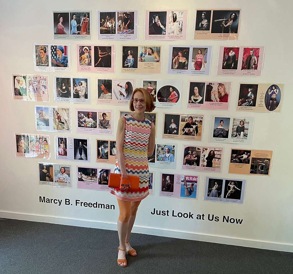 Marcy B. Freedman with art that inspired the performance
