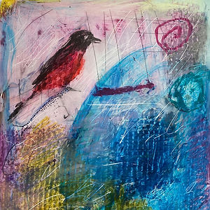 Red Bird, a pastel by Elaine Forrest