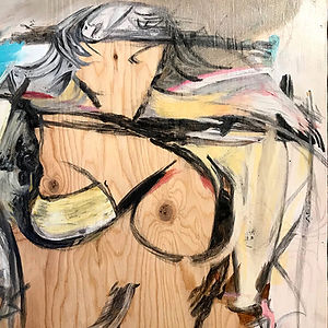 From The Missing Women Series: De Kooning's Muse-Ochre, a painting by Lynette Charters