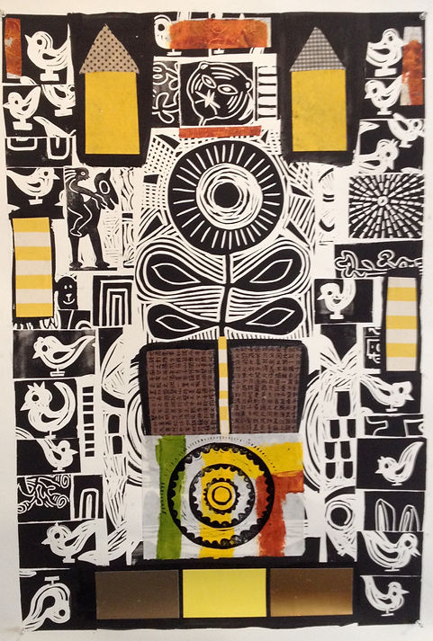 Untitled Linocut with Collage by Gert Mathiesen & Pam Smilow