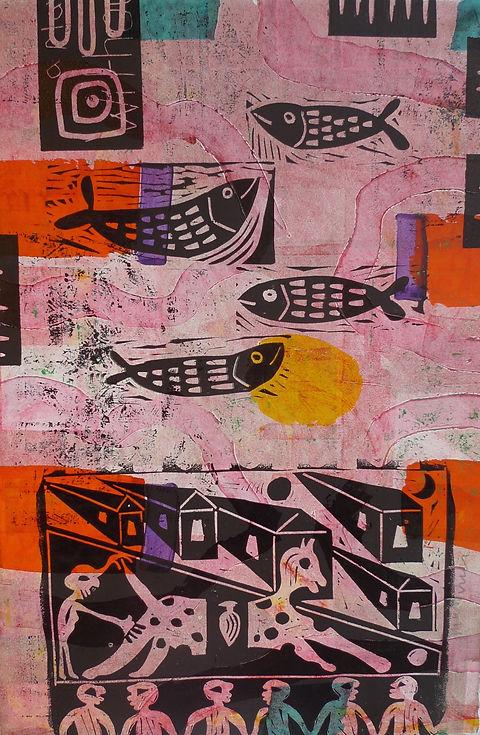 Pink Fish Monoprint by Gert Mathiesen