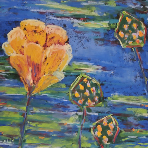 Lotus and Pod Geometry, a pastel by Elaine Langer