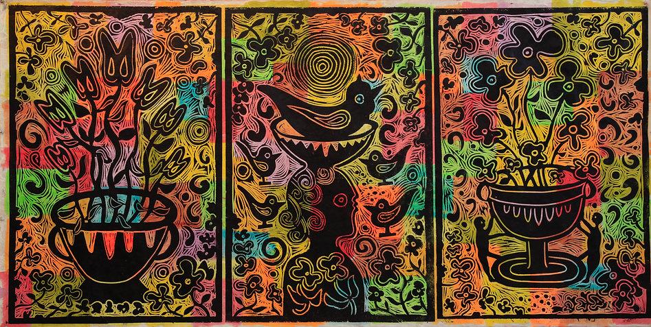 Neon Linocut Triptych by Gert Mathiesen