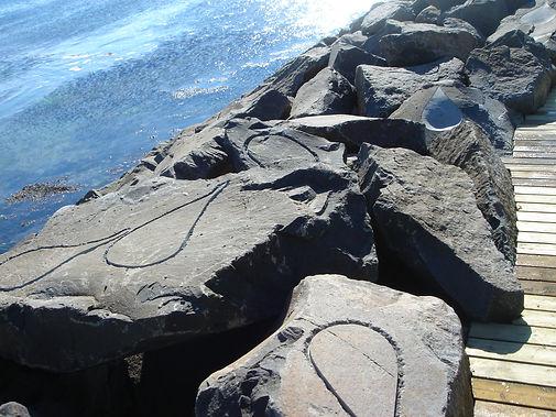 Lagrima, 2006, basalt and atlantic, land art by Mireya Samper