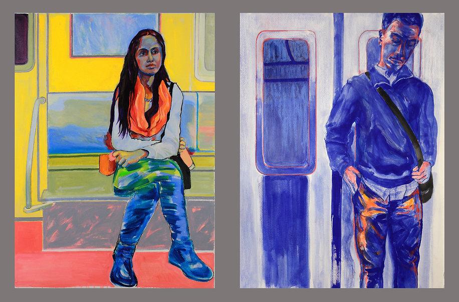 Blue & Blue Man, paintings by Kathlee