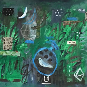 Moon, Two Sparrows, a painting by Pam Smilow