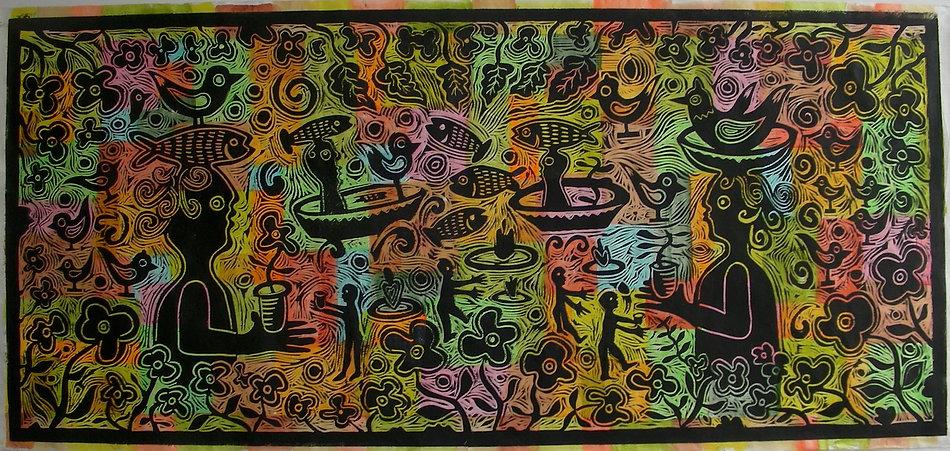 Untitled linocut by Gert Mathiesen