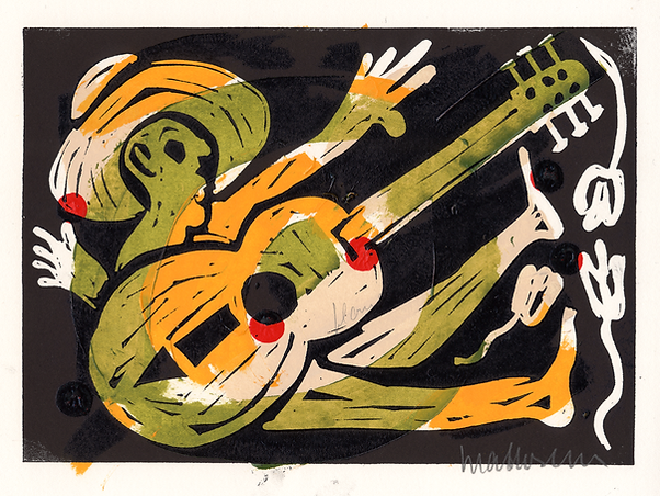 Singing the Blues I: A Man with his Guitar by Gert Mathiesen