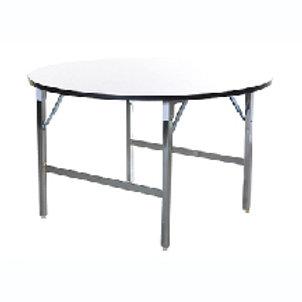 โต๊ะพับกลมเอนกประสงค์พับกลาง หน้าลามิเนตสีขาวขอบดำ ขาพับชุบโครเมียม TF-48