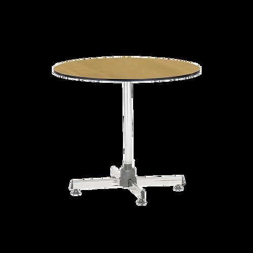 โต๊ะกลมขาชุบโครเมียมเอนกประสงค์ (หน้าลามิเนตลายไม้ขอบดำ) TR-75W