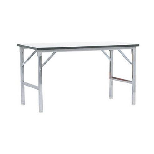 โต๊ะพับเอนกประสงค์ หน้าลามิเนตสีขาวขอบดำ ขาพับชุบโครเมียม TFP-45120