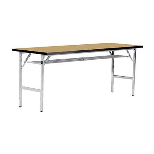 โต๊ะพับเอนกประสงค์ หน้าลามิเนตลายไม้ขอบดำ ขาพับชุบโครเมียม TFP-45120W