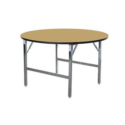 โต๊ะพับกลมเอนกประสงค์พับกลาง หน้าลามิเนตลายไม้ขอบดำ ขาพับชุบโครเมียม TF-48W