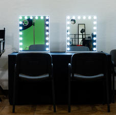 Check you hair and makeup in our well lit vanity area