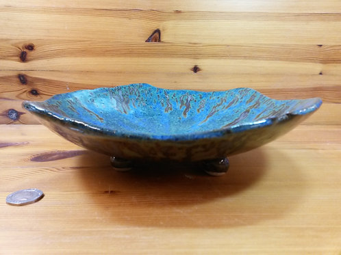 Large Blue/Green Footed Bowl