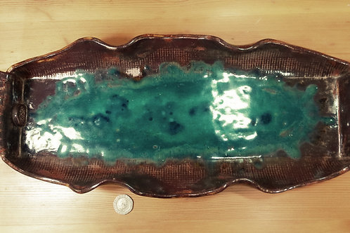 Ornate Ripple Edged Tray in Copper Brown and Emerald