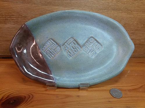 Grey/Blue Oval Tray
