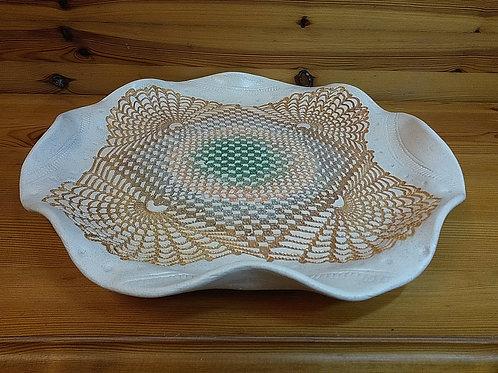 Large Folded Edge Lace Platter