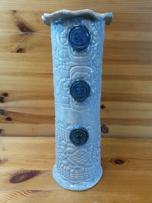 Tall Round Lace Button Vase