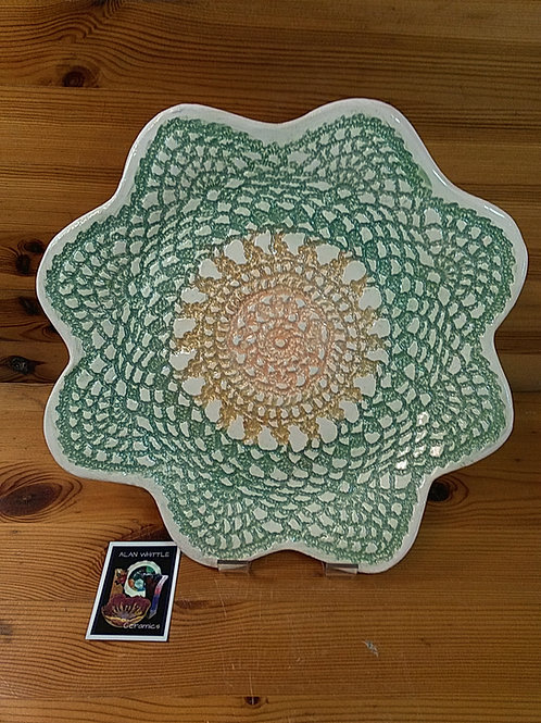 Green Floral Lace Platter