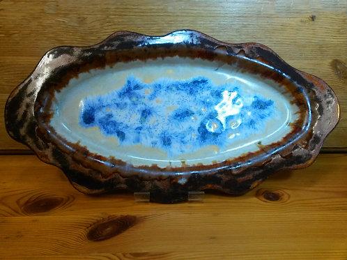 'Hydrangea'. Wavy Edged Freeform Oval Platter