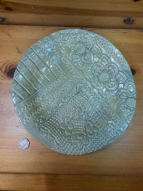 Shallow Freeform Ceramic Dish With Embossed Lace Design