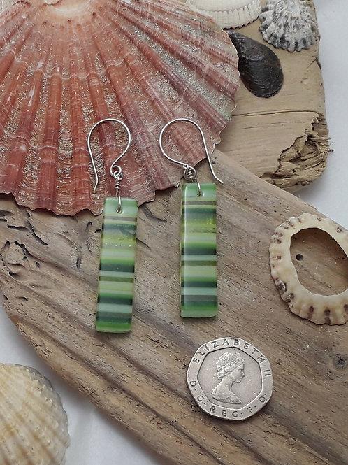 Green Stripey Earrings