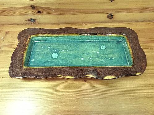 Emerald & Copper Wavy Edged Tray