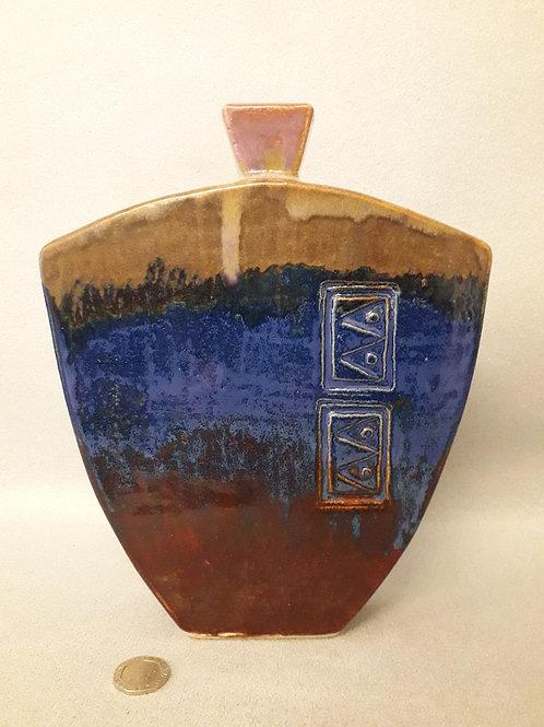 Flask / Bottle Vase with Stamped Decoration