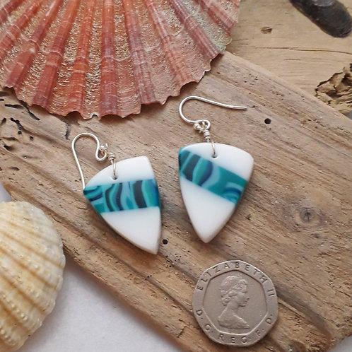 White & Turquoise Earrings