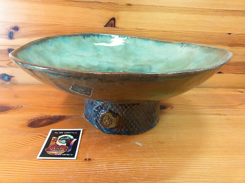 Sea Green /Blue Pedestal Bowl
