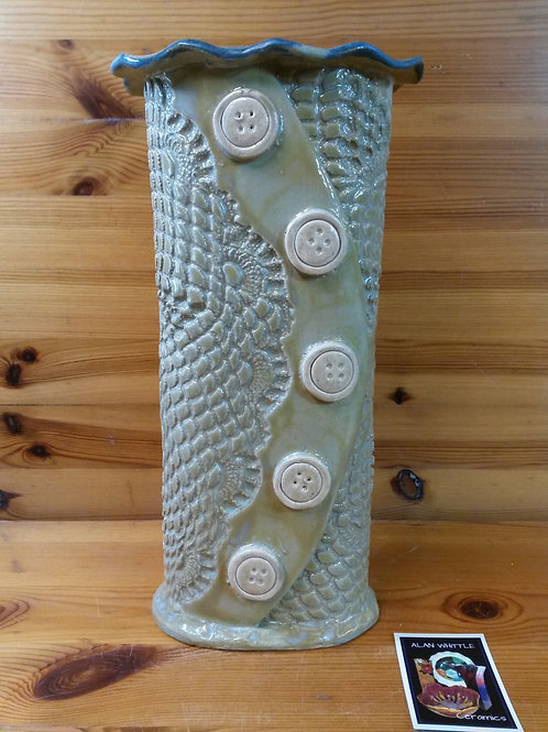 Large Oatmeal Lace Button Vase