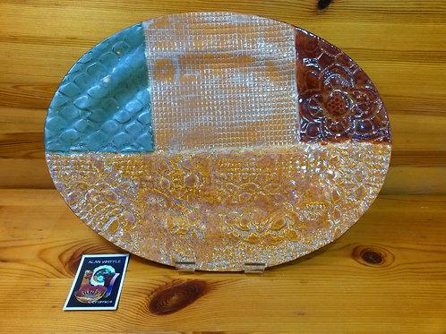 'Shades of Autumn'. Unique Multi-coloured Oval Lace Ceramic Platter