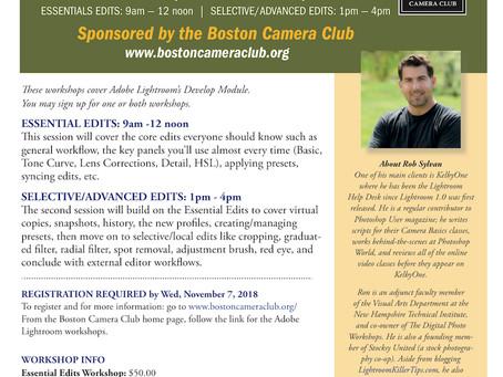 Lightroom Workshop Offered by Boston Camera