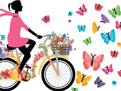 Women riding electric bikes