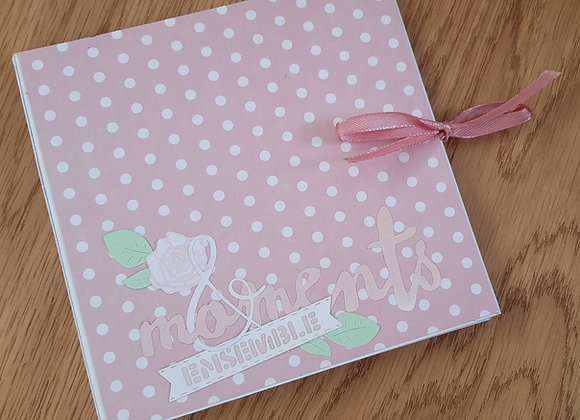 Album carré rose fleurs