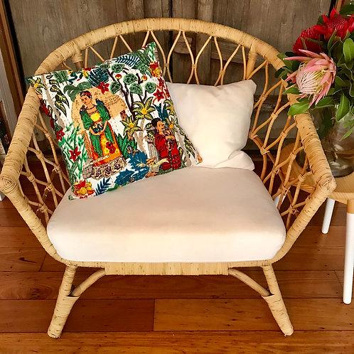 Frida Kahlo Handstitched Kantha Cotton Cushion 45cm x 45cm