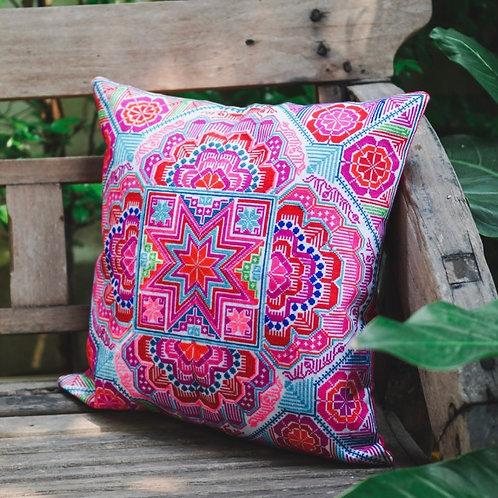 STAR CROSS STITCH DesignHmong Embroidered Fair Trade Cushion Cover 40cm x 40cm