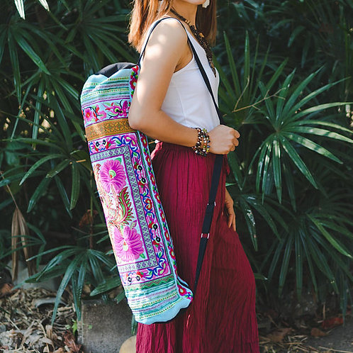 Handcrafted Tribal Yoga Mat Bag with Flower Hmong Embroidery