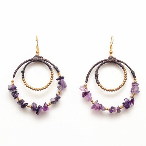 Handcrafted Unique Brass, Cotton & Stone Artisan Earrings