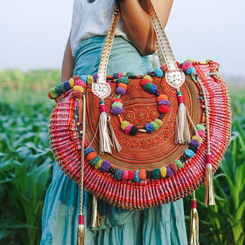 Vintage Detail Ardha Chandrasana Bag with Leather, Hmong Embroidered Stunner