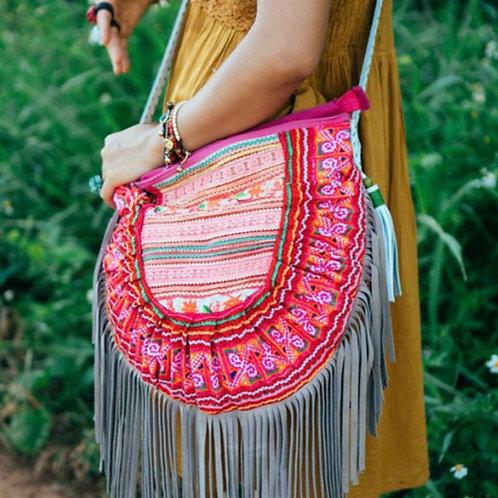 Bohemian Leather Fringed Bag