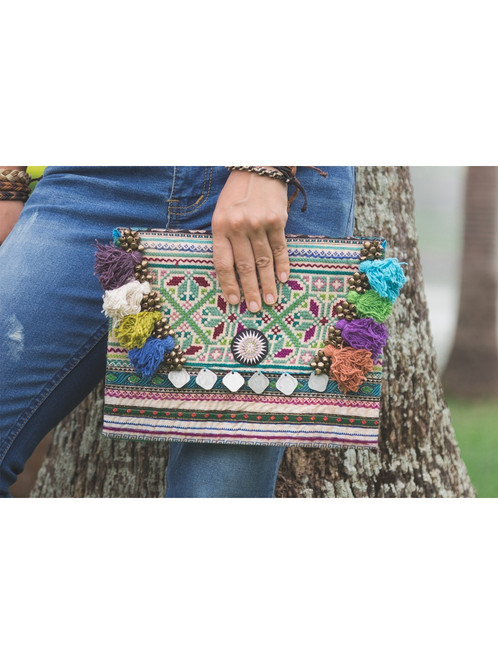 Handmade Clutch Bag With Vintage Hmong Embroidery