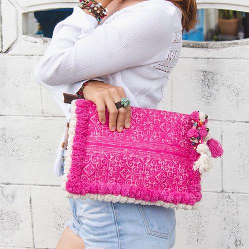 Handmade Pom Pom Clutch Bag